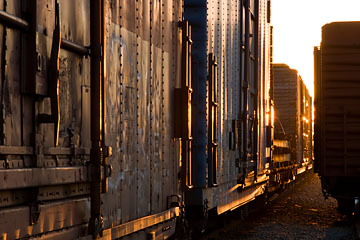 Boxcars at sunset